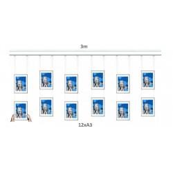 Nástěnný set na obrázky - Click Rail 3m, bílý + 12x A3 hliníkový rámeček a příslušenství